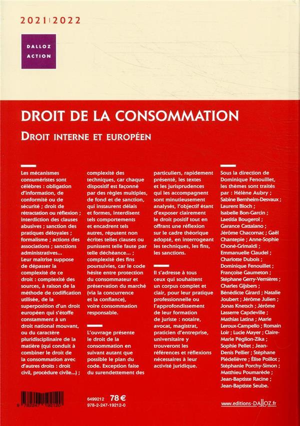 Droit de la consommation ; droit interne et européen (édition 2020/2021)