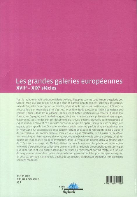 les grandes galeries européennes ; XVII-XIX siècles