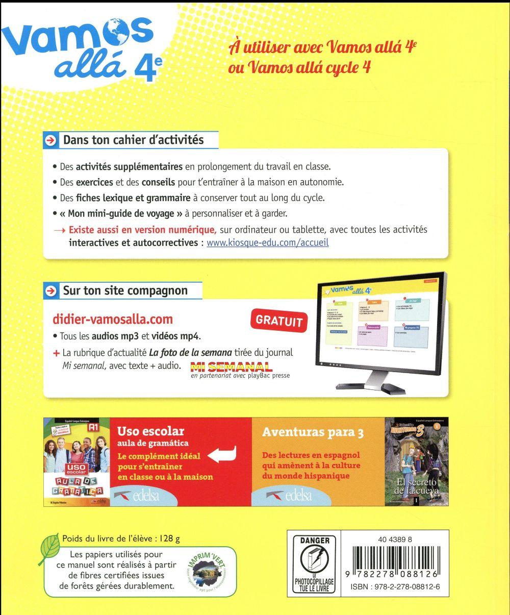 VAMOS ALLA ; espagnol ; 4e LV2 ; cahier