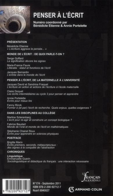 Revue le francais d'aujourd'hui n.174