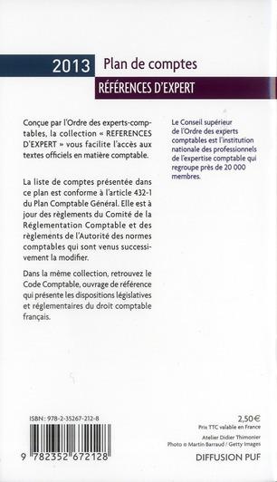 plan de comptes 2013 ; liste intégrale des comptes
