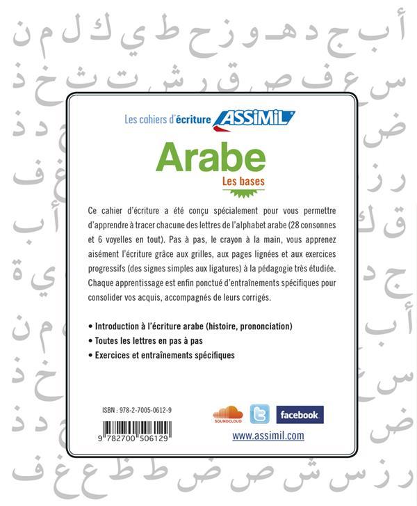 LES CAHIERS D'ECRITURE ; arabe ; les bases