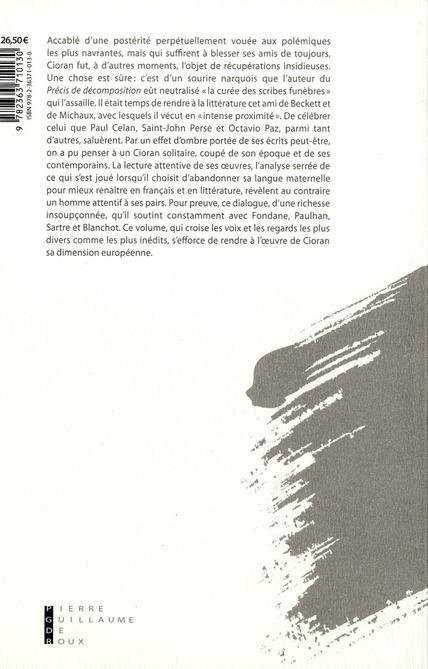 Cioran et ses contemporains