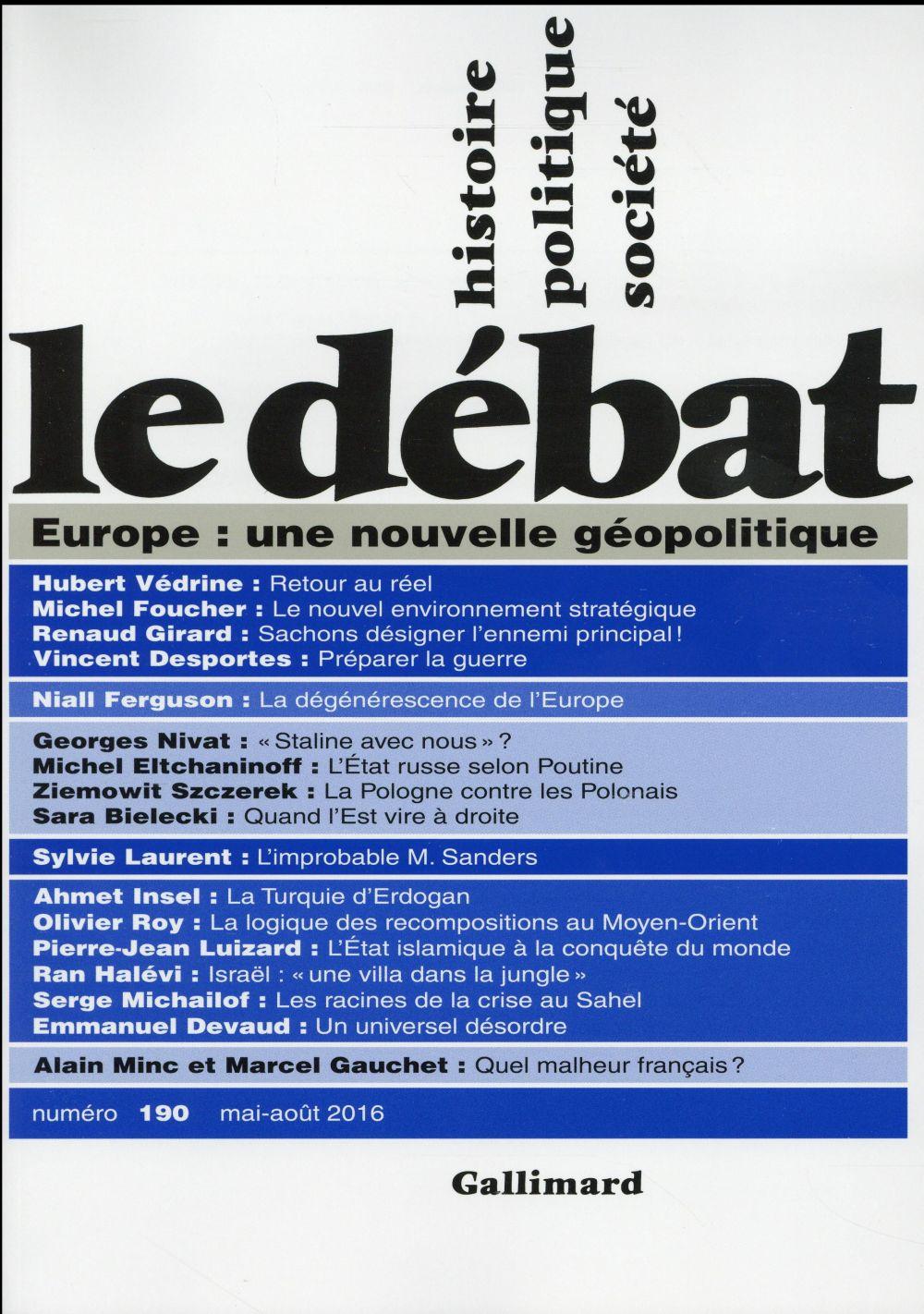 Revue le debat ; europe : une nouvelle geopolitique