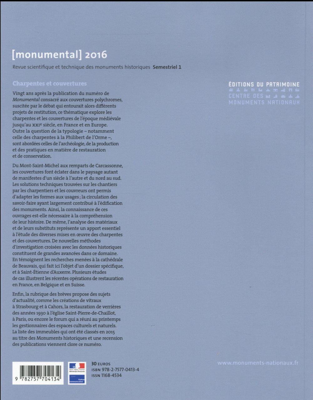 MONUMENTAL n.2016/1 ; charpentes et couvertures