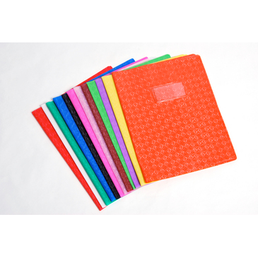 Protège-cahier Grain Losange18/100ème 17x22 rouge + porte étiquette