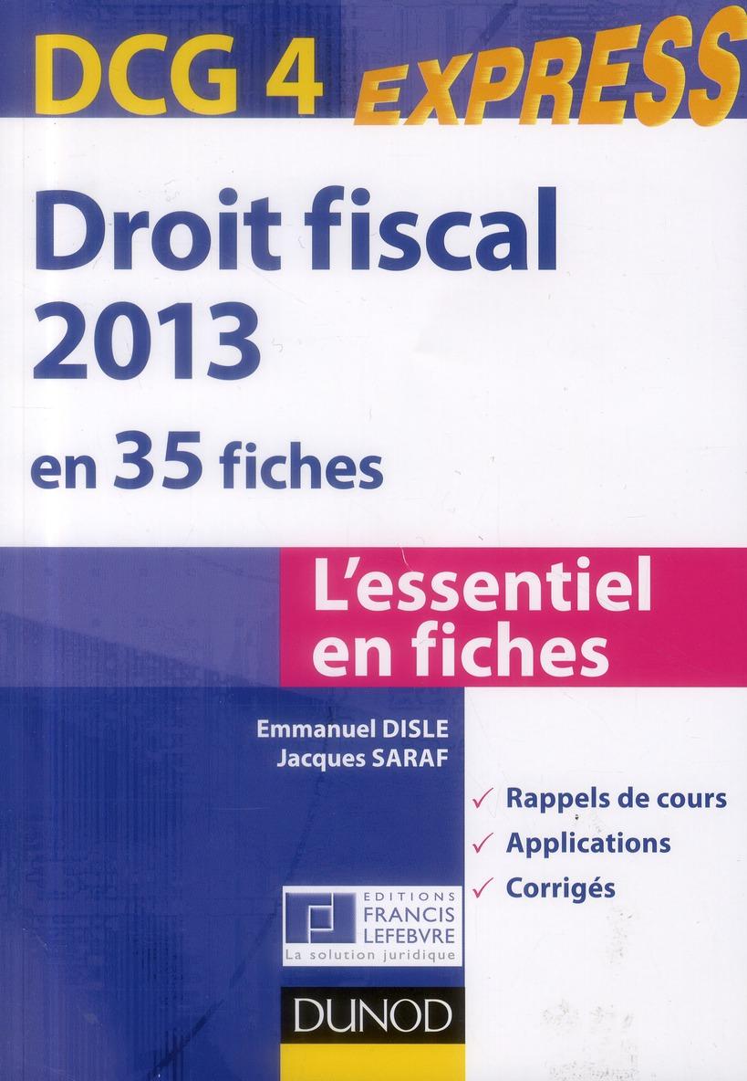 Dcg 4 ; Droit Fiscal En 35 Fiches (5e Edition)