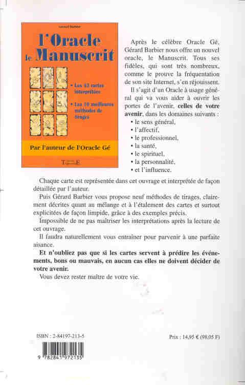 L'oracle, le manuscrit ; le livre
