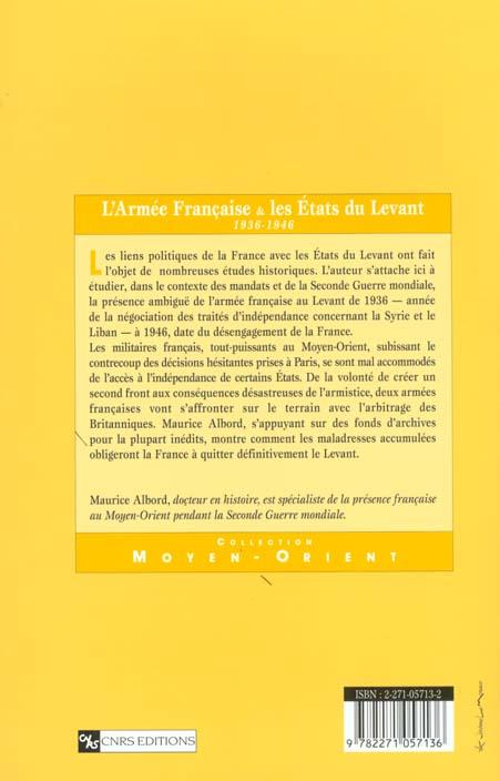 L'armée française et les états du Levant 1936-1946