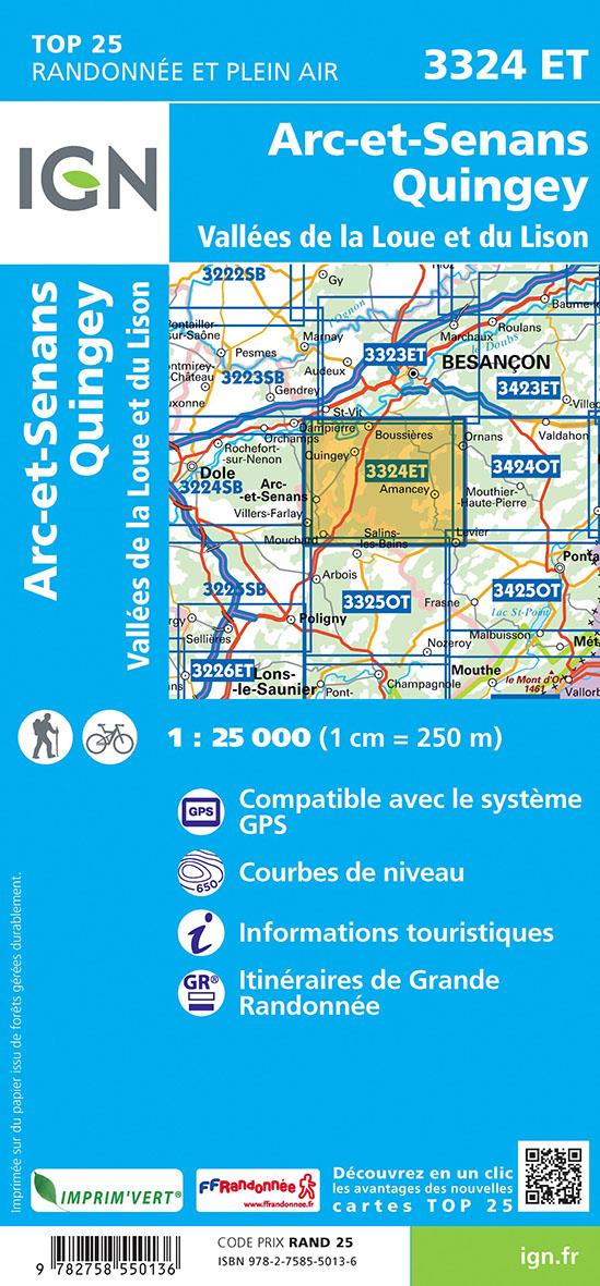 3324ET ; Arc-et-Senans, Quingey, Vallées de la Loue et du Lison