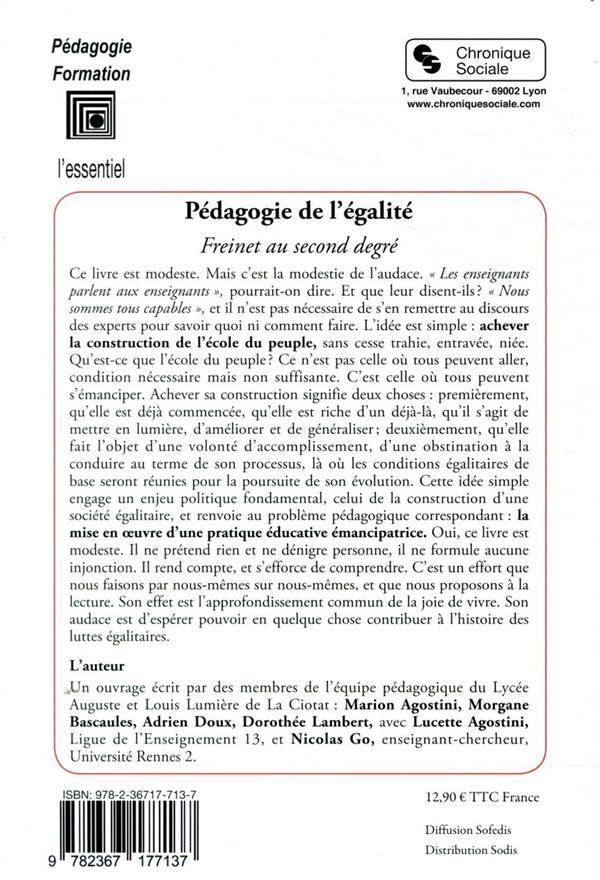 Pédagogie de l'égalité ; Freinet au second degré