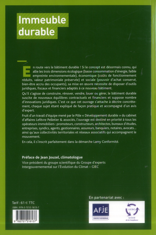 Immeuble durable ; outils juridiques, fiscaux et financiers
