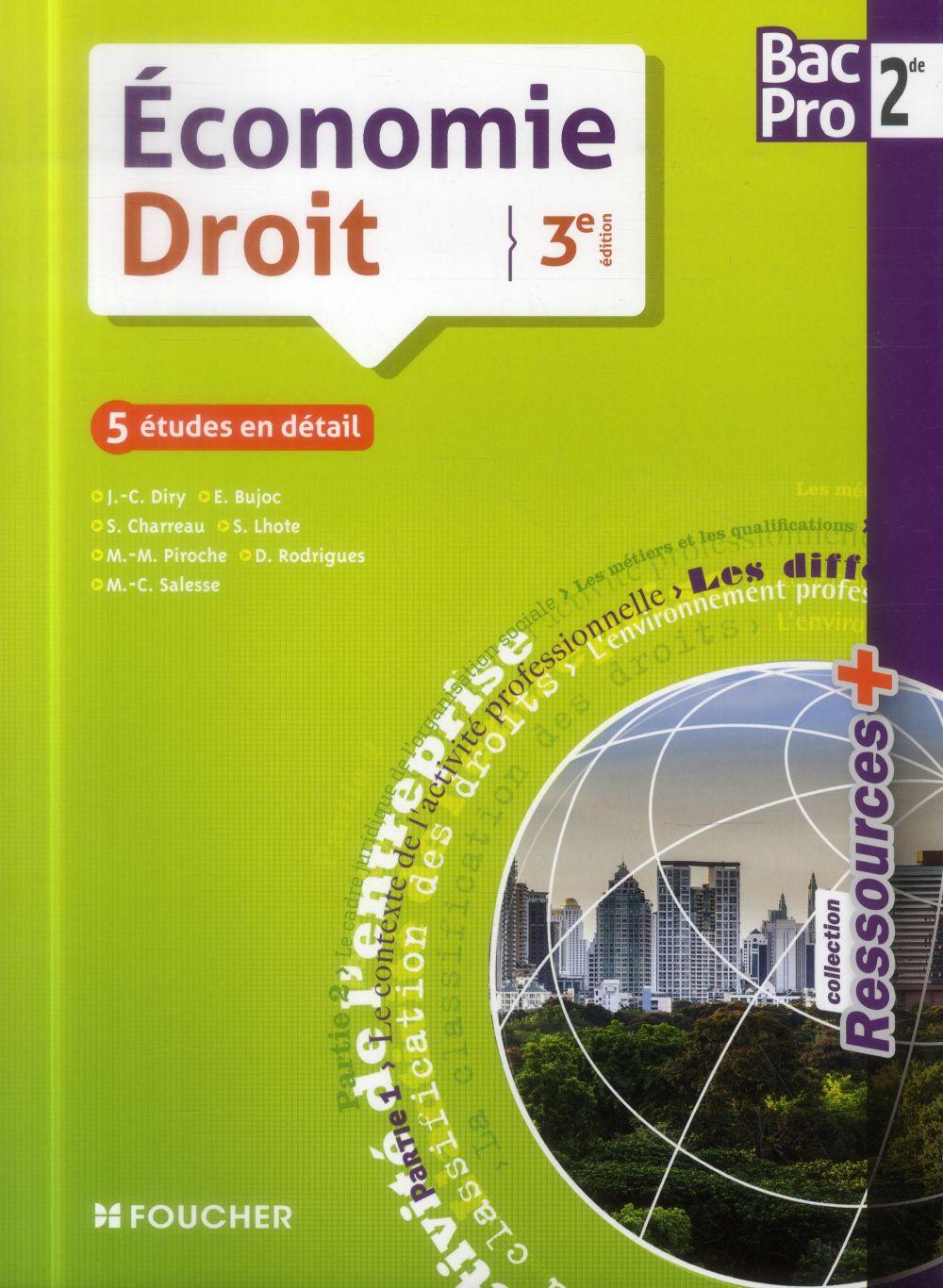 RESSOURCES + ; économie, droit ; 2nde bac pro ; livre de l'élève (3e édition)