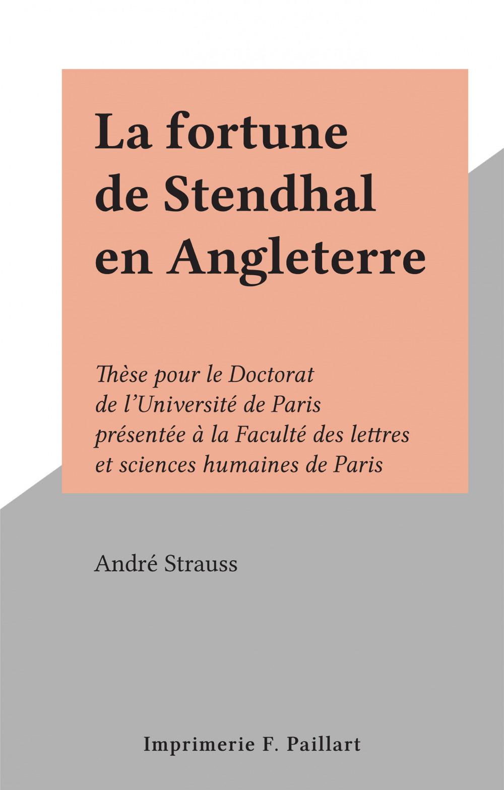 La fortune de Stendhal en Angleterre