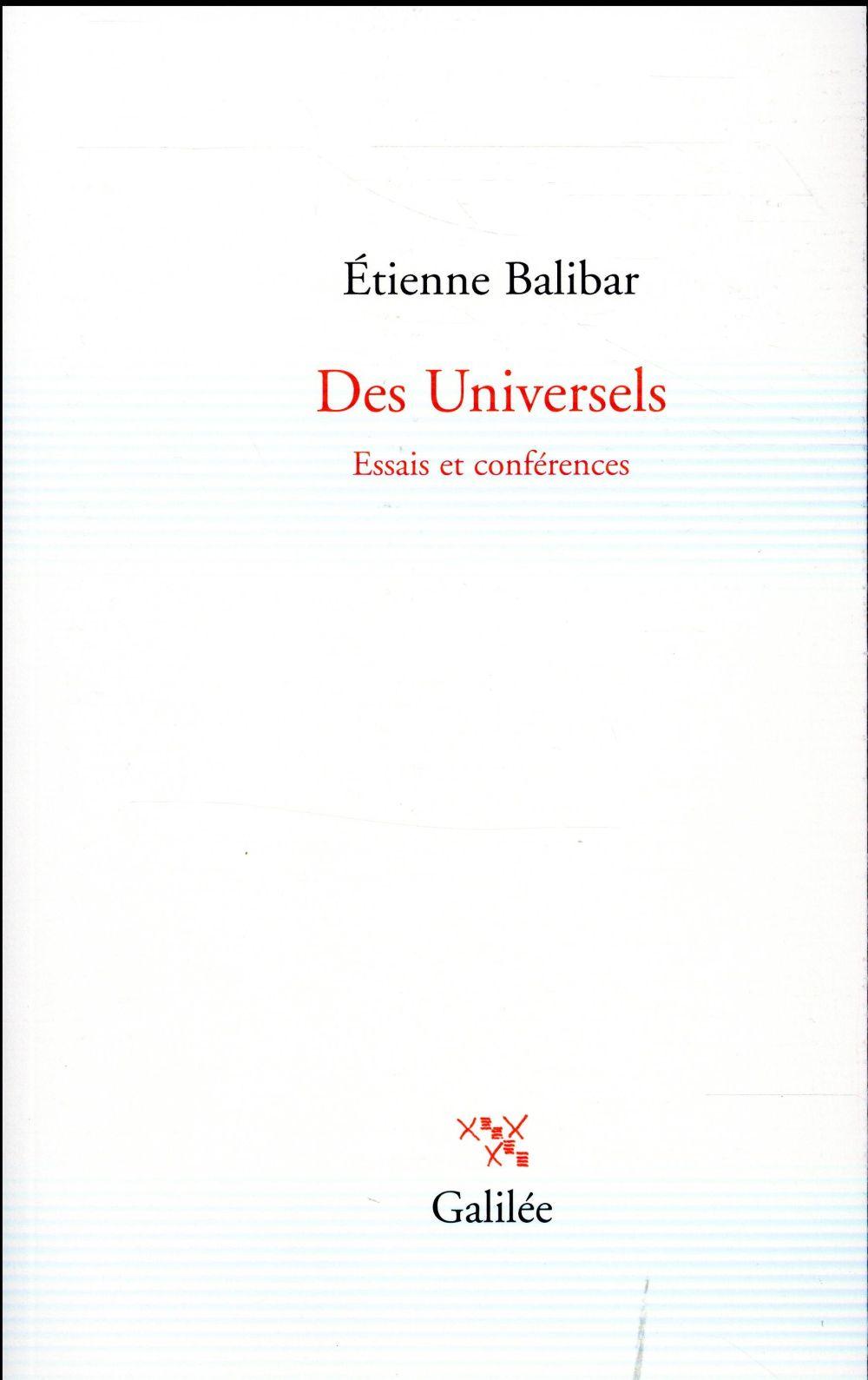 Des universels ; essais et conférences