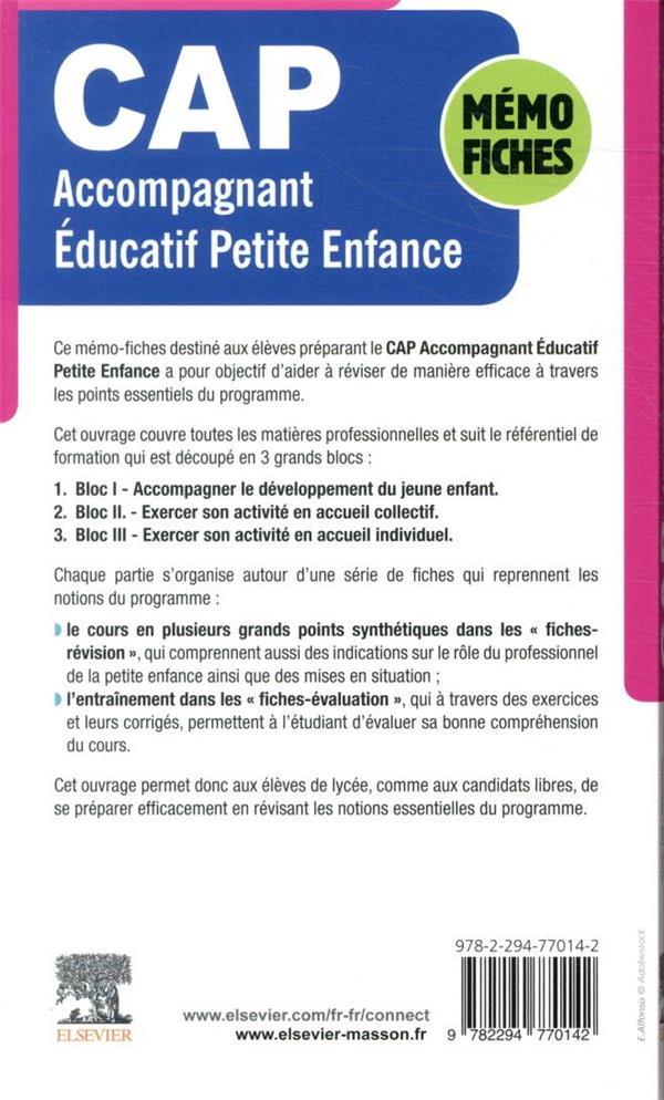 Mémo-fiches CAP accompagnant éducatif petite enfance ; matières professionnelles