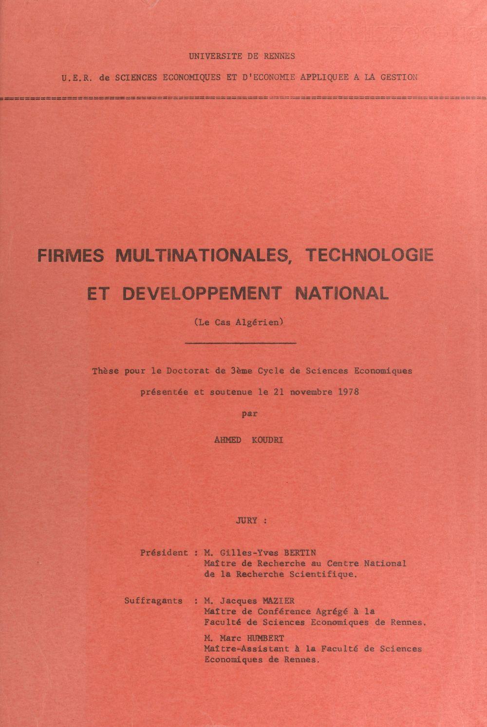 Firmes multinationales, technologie et développement national : le cas algérien