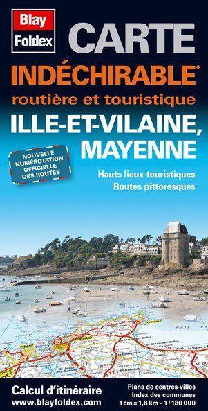 CARTE ROUTIERE INDECHIRABLE ; Ille et Vilaine, Mayenne
