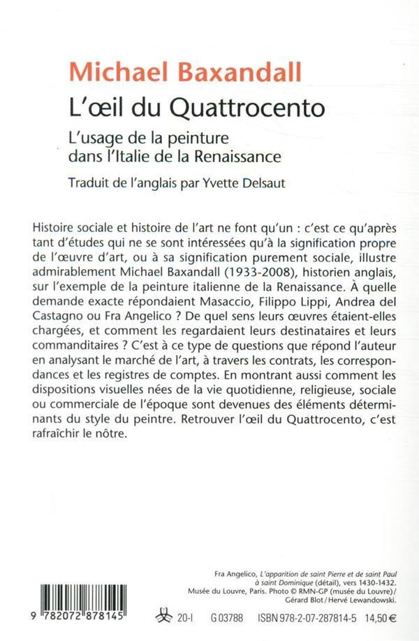 L'Œil du Quattrocento ; l'usage de la peinture dans l'Italie de la Renaissance