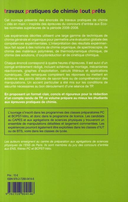 TP pratiques de chimie tout prêts ; classes préparatoires PC/BCPST/IUT/BTS/licence