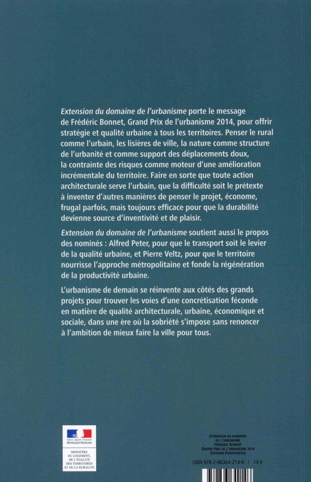 extension du domaine de l'urbanisme ; Frédéric Bonnet, Grand Prix de l'urbanisme 2014