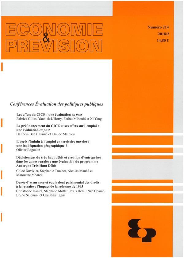 Economie et prevision n.214 ; conferences evaluation des politiques publiques