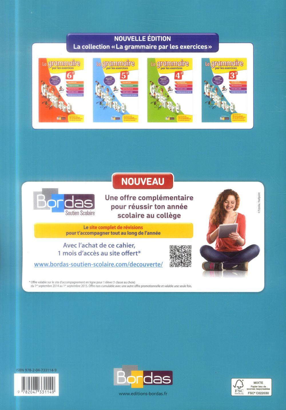 Les cahiers de français Bordas ; la grammaire par les exercices ; 3ème (édition 2014)