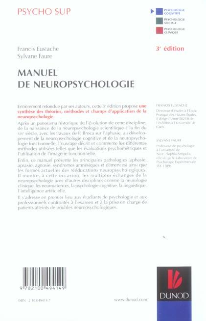 Manuel de neuropsychologie (3e édition)