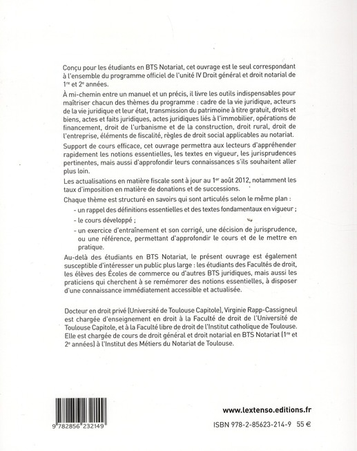 Droit général et droit notarial ; BTS notariat t.1 ; 1ère et 2ème année (2e édition)
