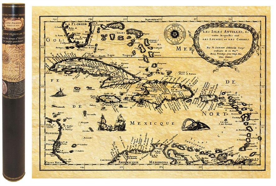 Caraibes au tps des pirates en 1657 58,5 cm x 42 cm