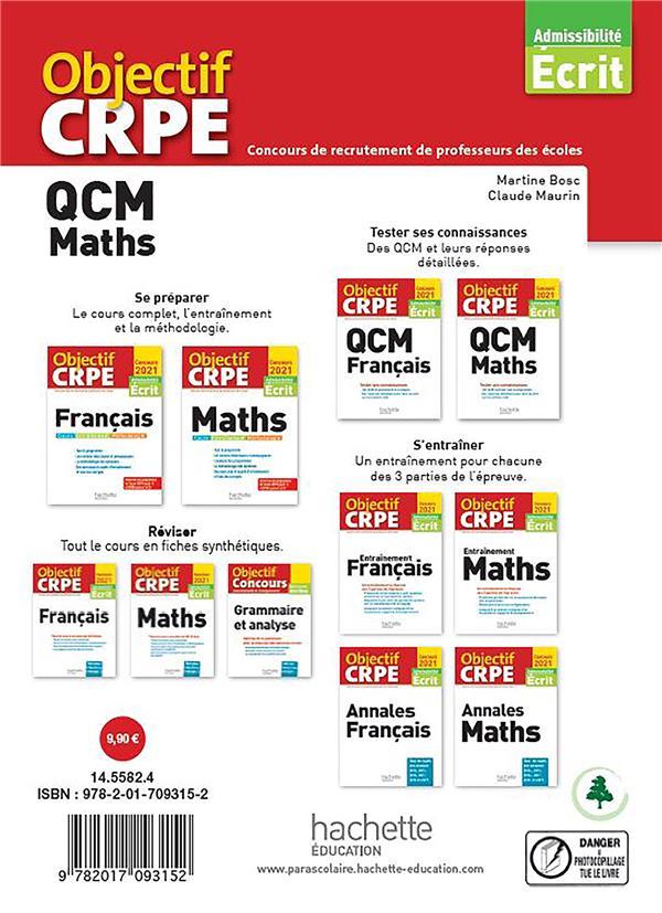 Objectif CRPE ; QCM maths (édition 2021)