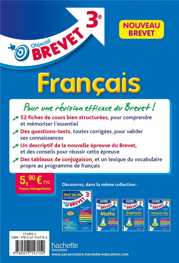 Objectif brevet ; français ; 3e ; fiches détachables