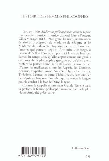histoire des femmes philosophes de l'antiquite