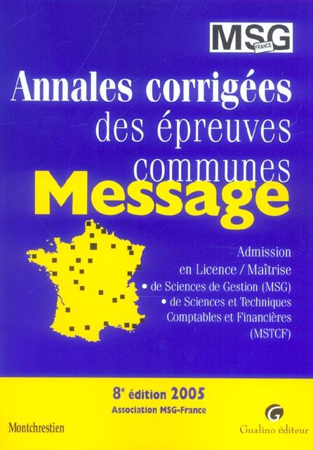 Annales epreuves communes iae-message 2005, 8eme edition (8e édition)