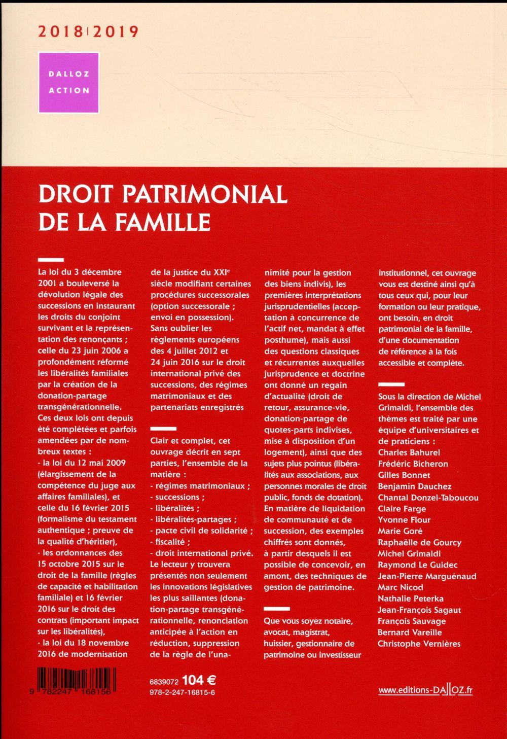 Droit patrimonial de la famille (édition 2018/2019)