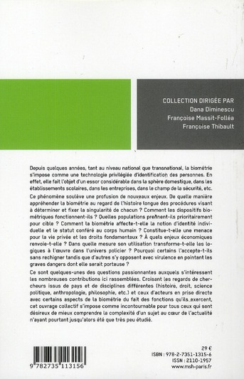 l'identification biométrique ; champs, acteurs, enjeux et controverses