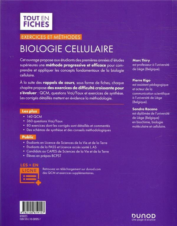 biologie cellulaire ; exercices et méthodes (3e édition)