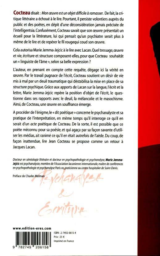 Jean Cocteau ou l'énigme du désir ; ce que le poète apprend au psychanalyste