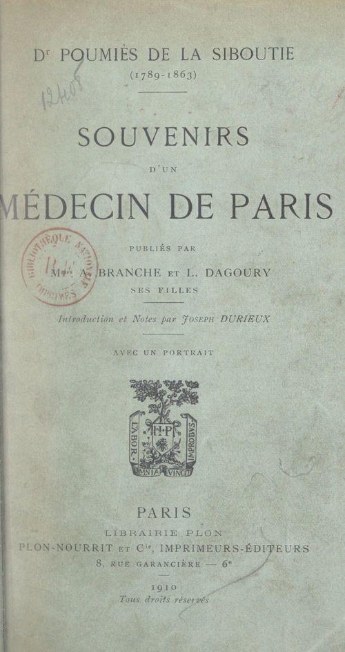 Dr Poumiès de La Siboutie, 1789-1863