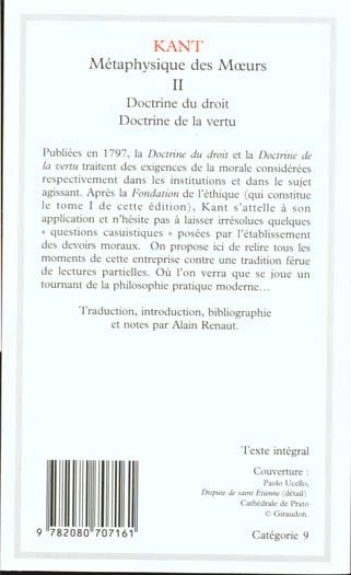 Métaphysique des moeurs t.2 ; doctrine du droit ; doctrine de la vertu