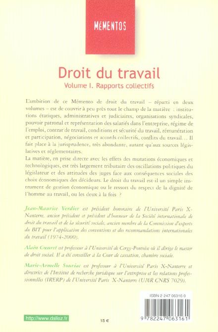 Droit du travail t.1 ; rapports collectifs (13e édition)