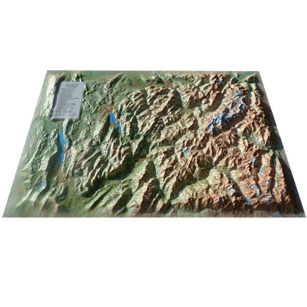 Carte en relief du Mont Blanc et sa région