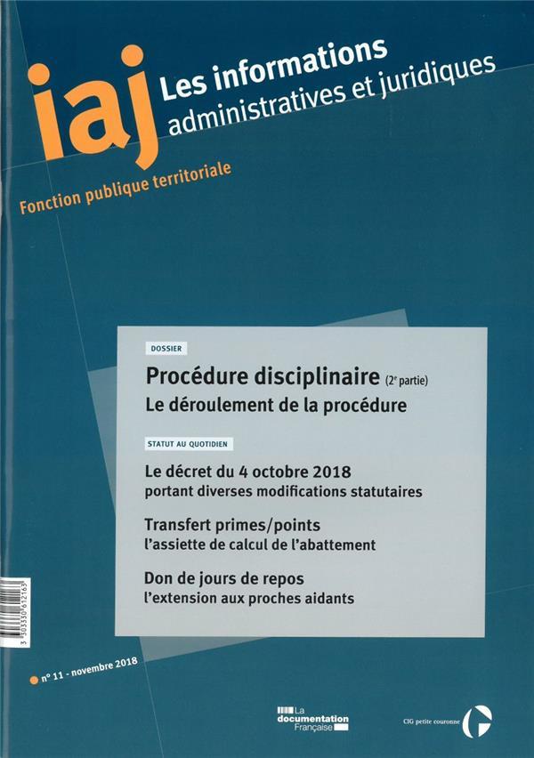 Informations administratives juridiques n.11 ; procedure disciplinaire t.2 ; le deroulement de la procedure