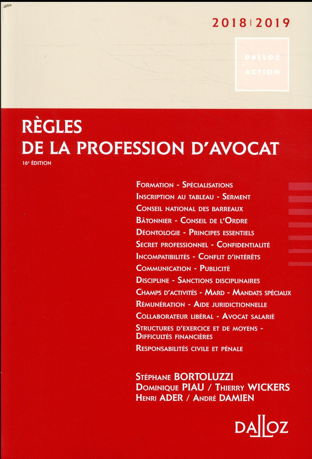 Règles de la profession d'avocat (édition 2018/2019)