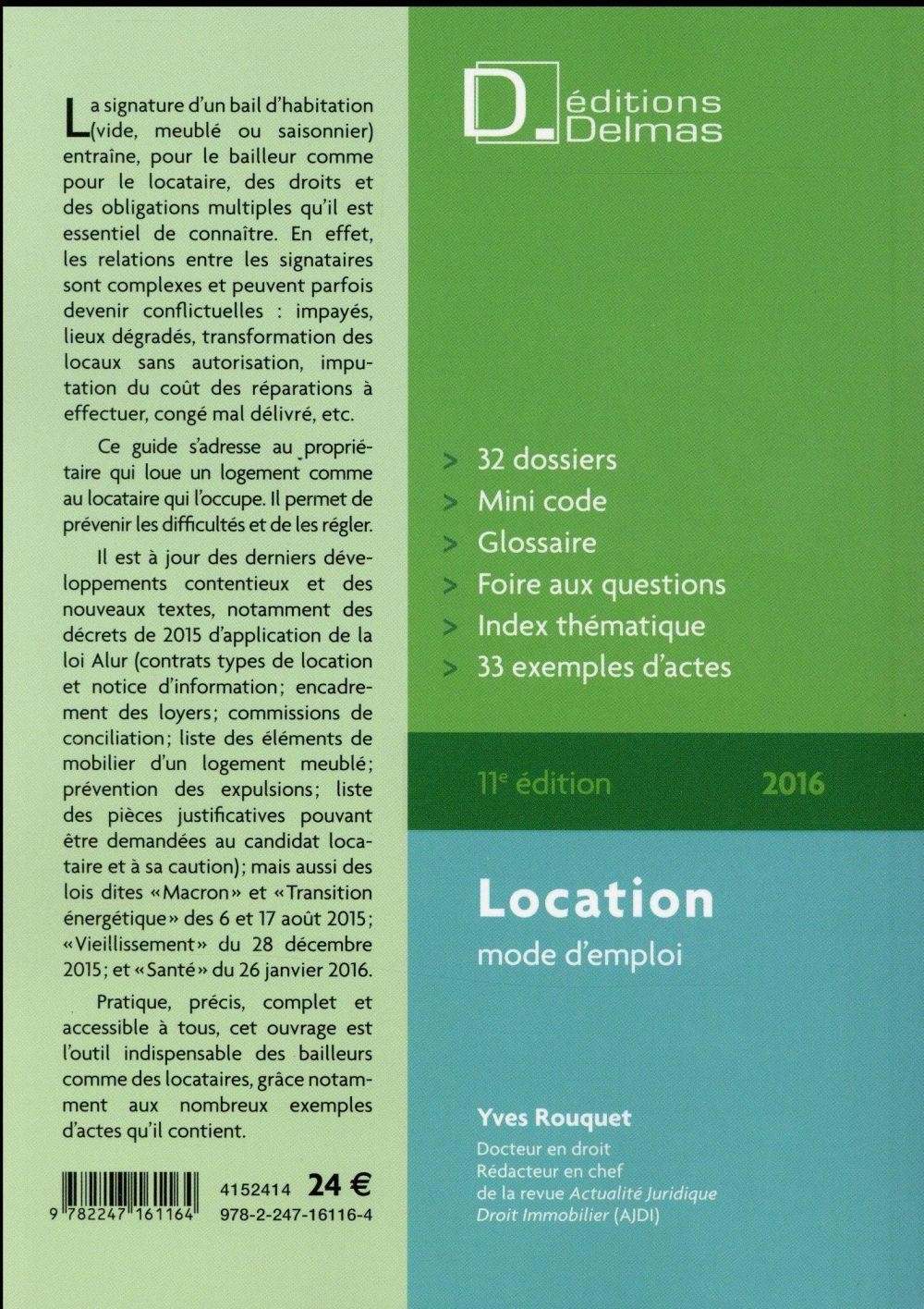 Locations ; mode d'emploi (édition 2016)