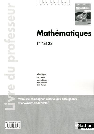 INTERVALLE ; mathématiques ; terminale ST2S  ; livre du professeur