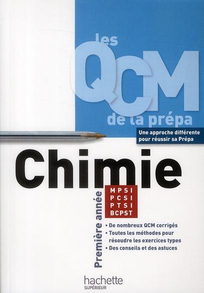 Les Qcm De La Prepa; Chimie ; 1ere Annee Mpsi/Ptsi/Pcsi/Bcpst