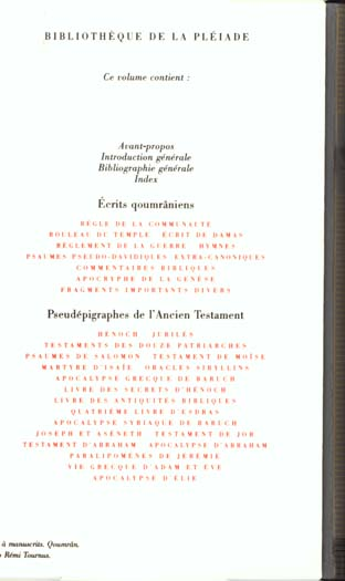 La Bible ; écrits intertestamentaires