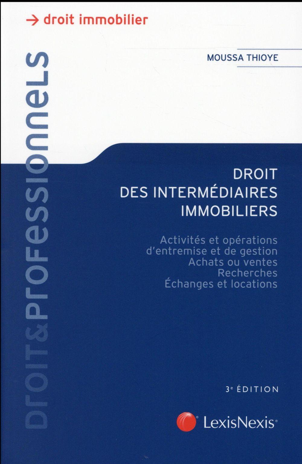 Droit des intermédiaires immobiliers (3e édition)