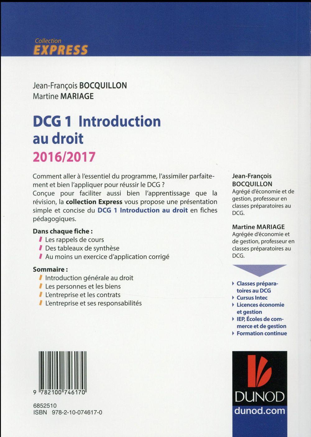 DCG 1 ; introduction au droit ; l'essentiel en fiches (édition 2016/2017)